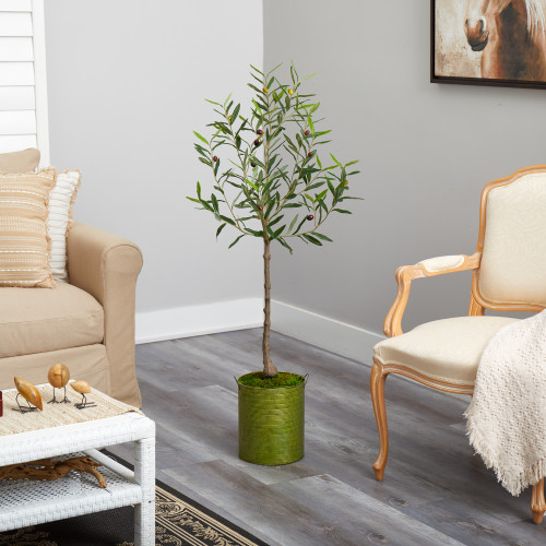 Multicolor Olive Artificial Tree in Green Planter - 4.5 Ft. (T2549)