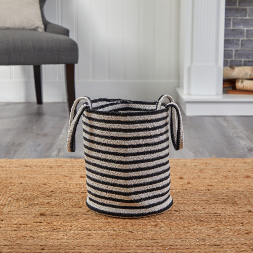 """Multicolor 13"""" Boho Chic Basket Natural Cotton, Handwoven Black and White Stripe with Handles - 13"""" (0327-S1)"""