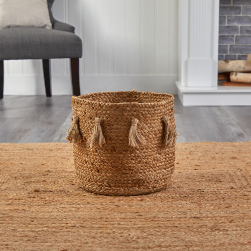 """Multicolor Boho Chic Natural Hand-Woven Jute Basket with Tassels - 12.5"""" (0829-S1)"""