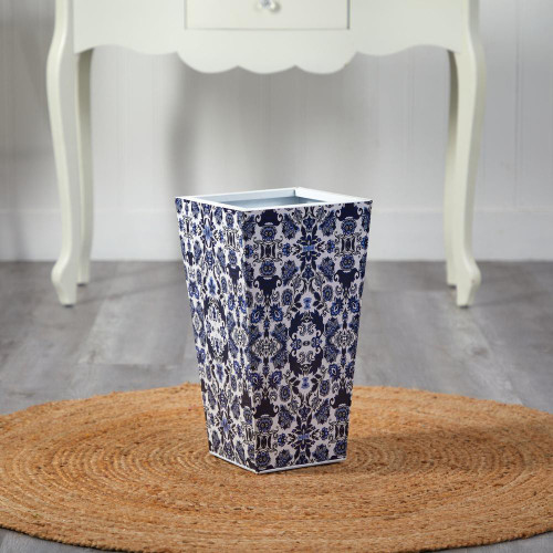 "Multicolor Oriental Blue and White Classic Metal Planter - 18"" (0831-S1)"