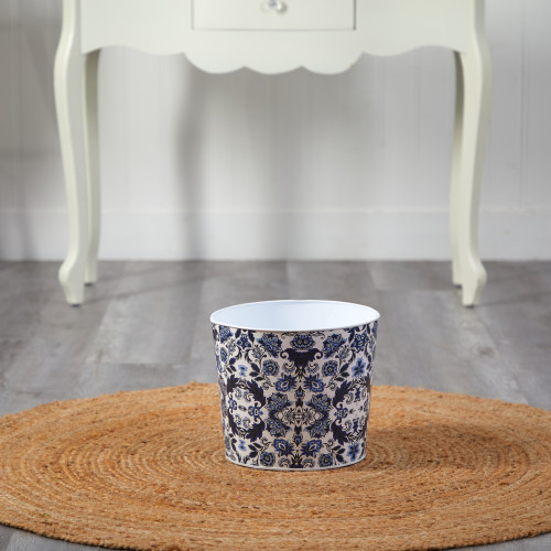 """Multicolor Oriental Blue and White Classic Round Metal Planter - 12"""" (0832-S1)"""