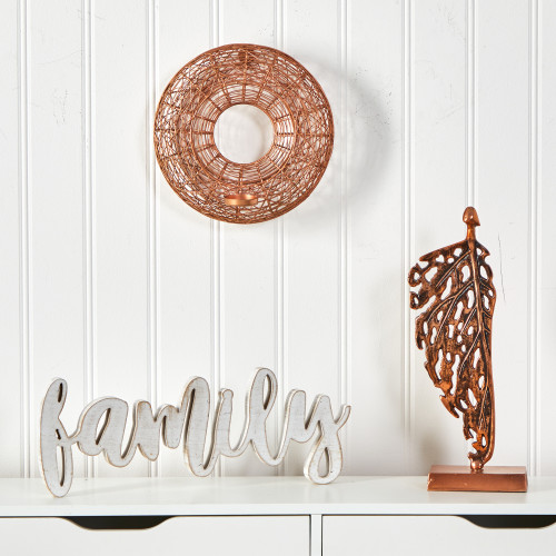 """Multicolor Wired Copper Circle Wall Sconce Candle Holder - 11"""" (7055)"""
