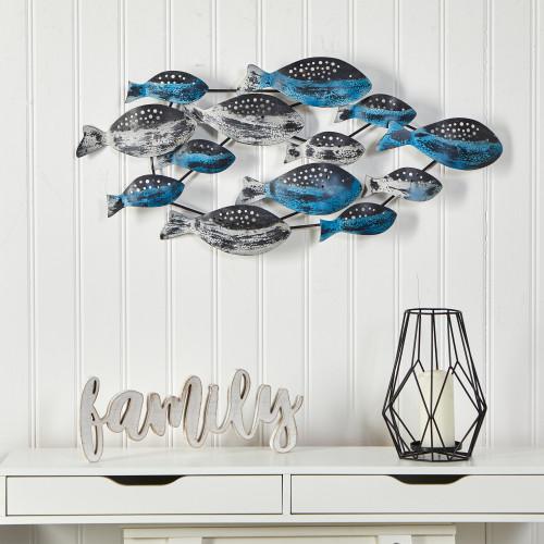 Multicolor Coastal Fish Metal Wall Art Decor - 3x1.5 Ft. (7058)