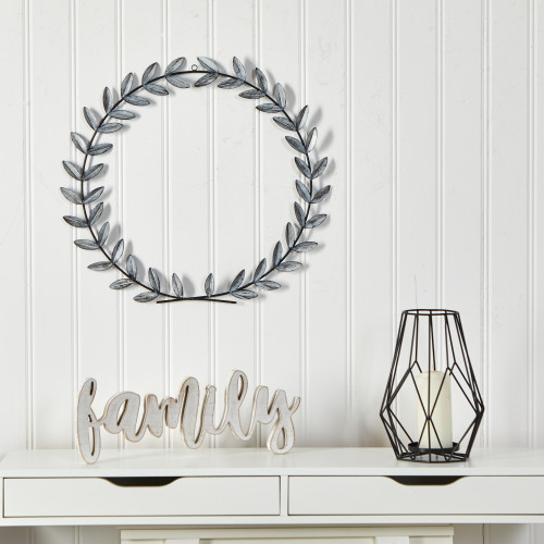 """Multicolor White Metal Olive Leaf Wall Decor - 20x20"""" (7059)"""