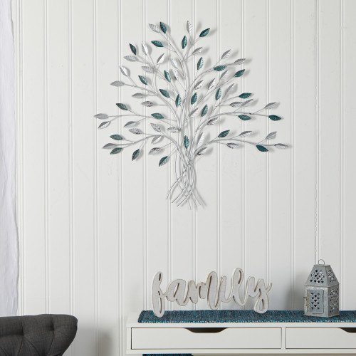 """Multicolor Hand-Painted Metal Tree of Life Wall Art Decor - 30x30"""" (7061)"""