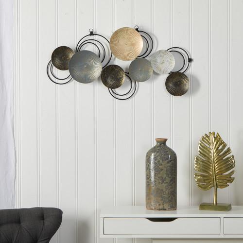 "Multicolor Rays Metal Plates Wall Art Decor - 30x14"" (7062)"