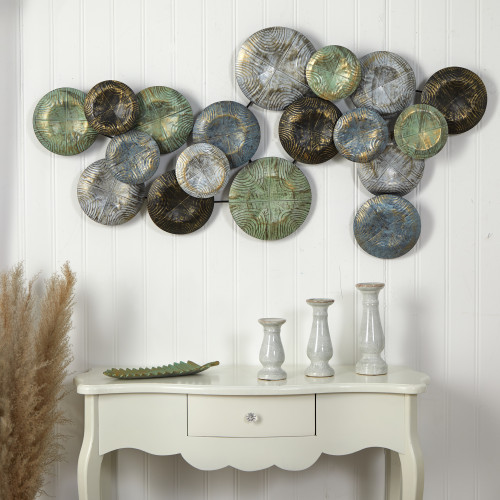 Multicolor Embossed Metal Disc Wall Art Decor - 5x2.5 Ft. (7065)
