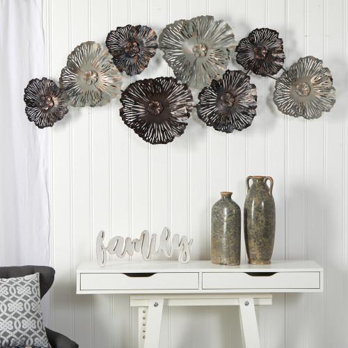 Multicolor Floating Metal Floral Design Metal Wall Art Decor - 5x2 Ft. (7066)
