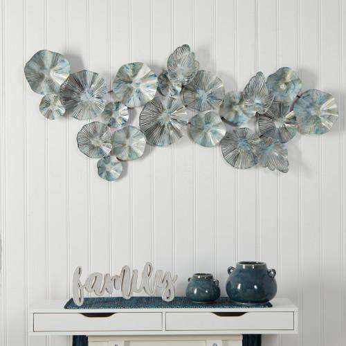 Multicolor Coastal Floral Metal Montage Wall Art Decor - 5x2 Ft. (7067)