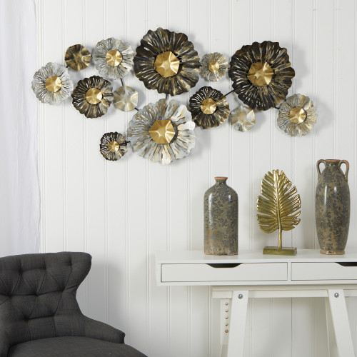 Multicolor Layered Floral Metal Wall Art Decor - 5x2 Ft. (7070)