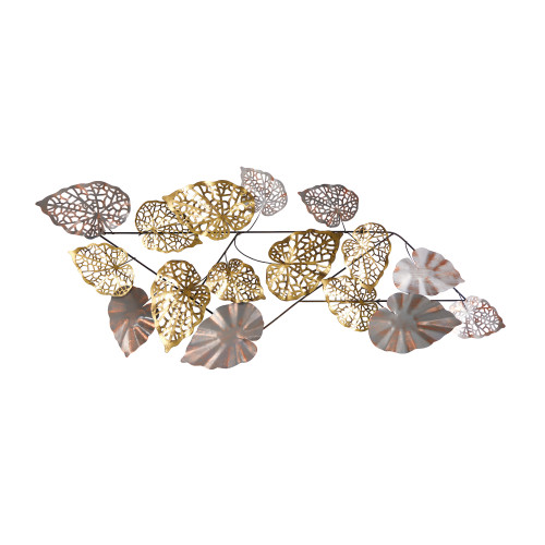 Multicolor Scattered Metal Leaves Wall Art Decor - 5x2 Ft. (7071)