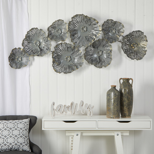 Multicolor Floating Metal Floral Wall Art Decor - 5x2 Ft. (7072)