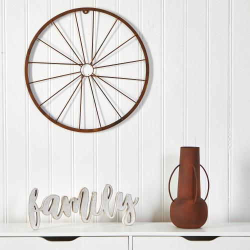 """Multicolor Rustic Metal Vintage Bicycle Wheel Wall Art Decor - 22"""" (7073)"""