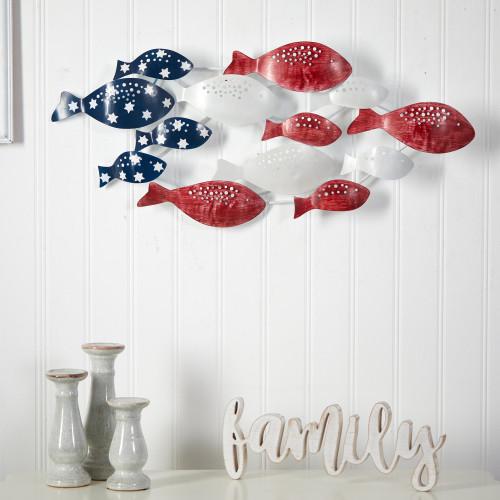 "Multicolor Patriotic Metal Fishes Wall Art Décor - 18x39"" (7075)"