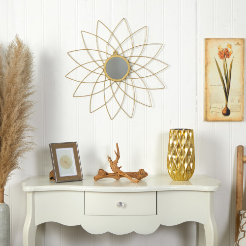 """Multicolor Gold Metal Flower Accent Wall Mirror - 26"""" (7081)"""