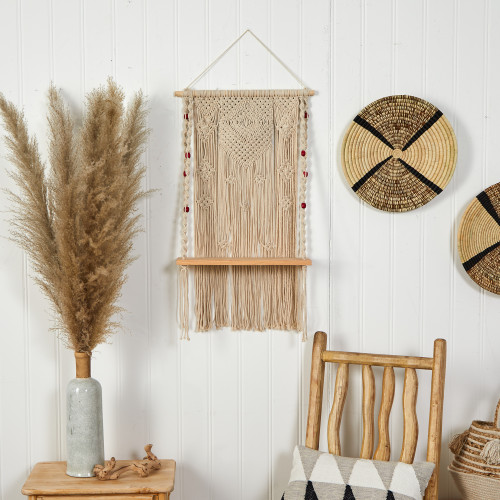 Multicolor Bohemian Macrame Wall Hanging with Wooden Shelf - 2.5 Ft. (7122)