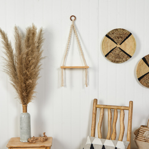 """Multicolor Hand Woven Macrame Wall Hanging with Wooden Shelf - 12x22"""" (7123)"""