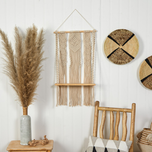 Multicolor Layered Macrame Wall Hanging with Wooden Shelf - 2.5 Ft. (7124)