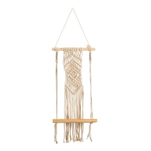 "Multicolor Boho Chic Wood Macrame Shelf with Diamond Weave - 22"" (7129)"