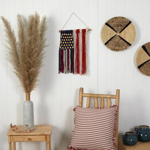 "Multicolor 14"" x 18"" Handmade American Flag ""Americana"" Macrame Wall Hanging Art Decor - 14"" (7132)"