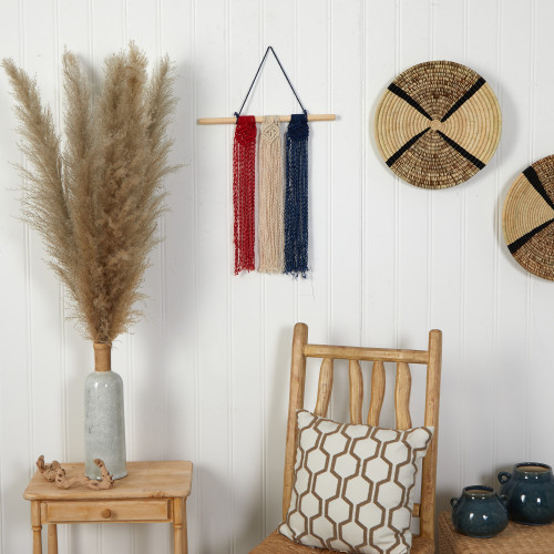 """Multicolor 14"""" x 24"""" Red White and Blue """"Americana"""" Macrame Wall Hanging Art Decor - 14"""" (7133)"""