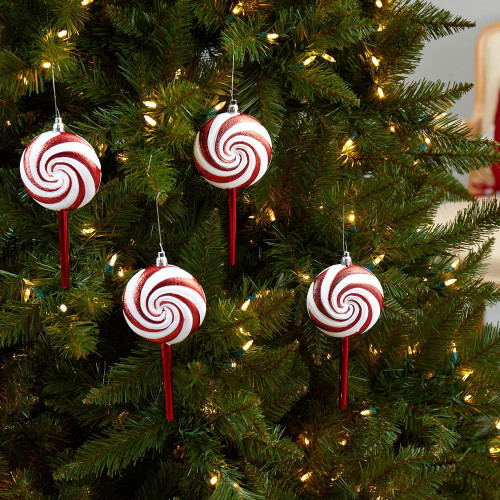 """Multicolor Candy Cane Lollipop Holiday Deluxe Christmas Shatterproof Ornament Set of 4 - 7"""" (D1049)"""
