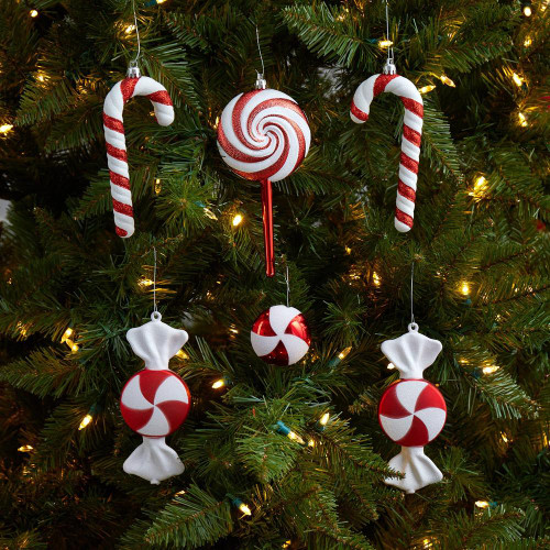 """Multicolor Assorted Candy Cane Holiday Christmas Deluxe Shatterproof Ornament Set of 6 - 7"""" (D1050)"""