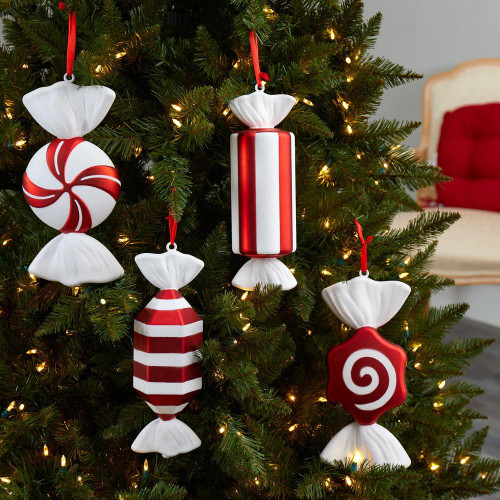 """Multicolor Jumbo Assorted Candy Holiday Christmas Deluxe Shatterproof Ornament Set of 4 - 12"""" (D1051)"""