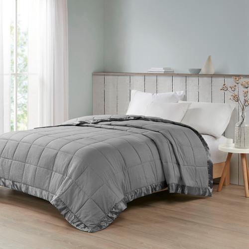 Charcoal Grey Premium Oversized Down Alternative Blanket - All Season Blanket (Cambria-Charcoal-Blanket)