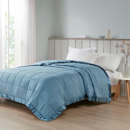 Slate Blue Premium Oversized Down Alternative Blanket - All Season Blanket (Cambria-Slate Blue-Blanket)