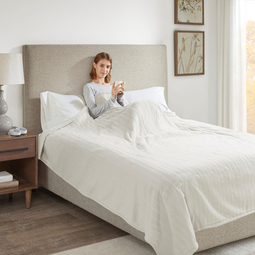 Solid Ivory Electric Heated Ribbed Microfleece Year Round Blanket (Ribbed Micro-Ivory-Blanket)