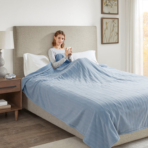 Solid Blue Electric Heated Ribbed Microfleece Year Round Blanket (Ribbed Micro-Blue-Blanket)