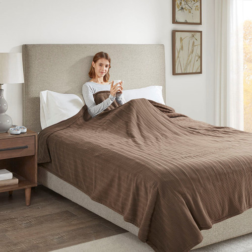 Solid Brown Electric Heated Ribbed Microfleece Year Round Blanket (Ribbed Micro-Brown-Blanket)