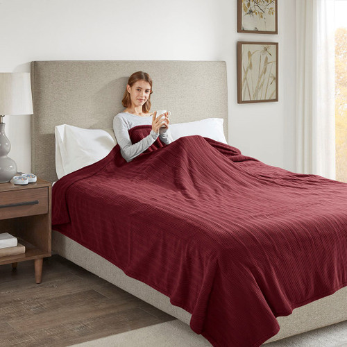 Solid Burgundy Electric Heated Ribbed Microfleece Year Round Blanket (Ribbed Micro-Burgundy-Blanket)