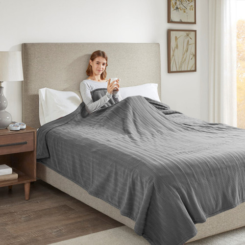 Solid Grey Electric Heated Ribbed Microfleece Year Round Blanket (Ribbed Micro-Grey-Blanket)