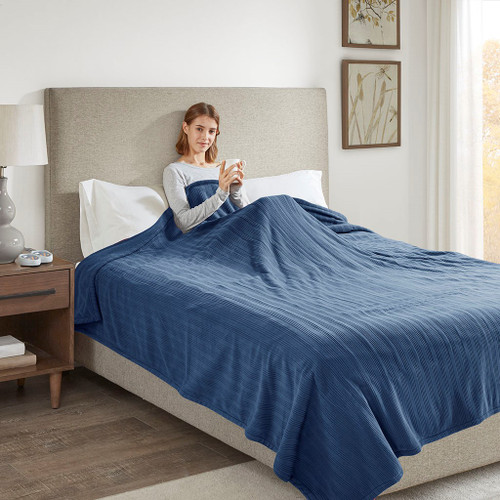 Solid Navy Blue Electric Heated Ribbed Microfleece Year Round Blanket (Ribbed Micro-Navy-Blanket)