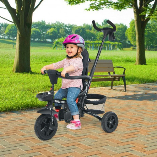 6-in-1 Detachable Kids Baby Stroller Tricycle with Canopy and Safety Harness-Black