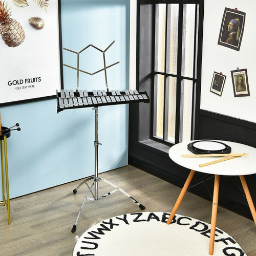 32 Note Glockenspiel Xylophone Percussion Bell Kit with Adjustable Stand