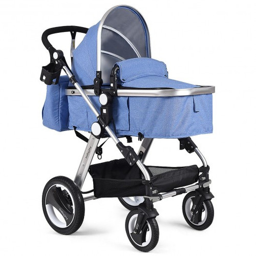 Folding Aluminum Baby Stroller Baby Jogger with Diaper Bag-Blue