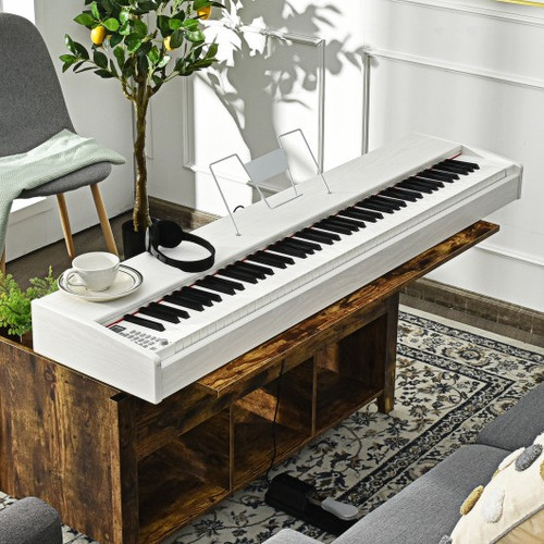 88-Key Full Size Digital Piano Weighted Keyboard with Sustain Pedal-White