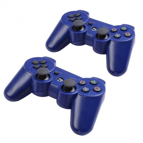 Lot 2 Wireless Controller for Sony PS3 Black White Play Station 3 New -Blue