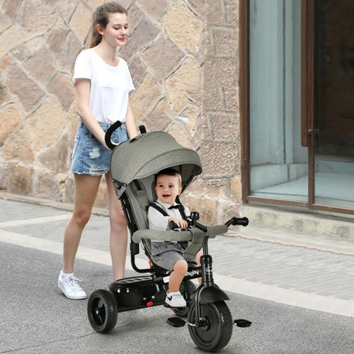 4-In-1 Baby Tricycle Kids Stroller with Adjustable Push Handle-Gray