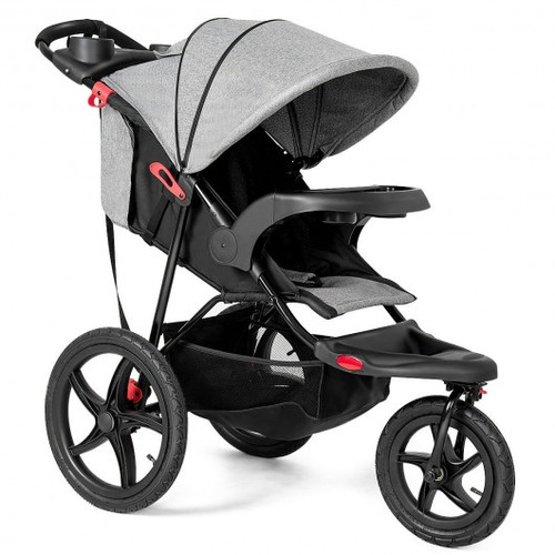 Foldable Lightweight All-terrain Baby Stroller with Holder-Gray