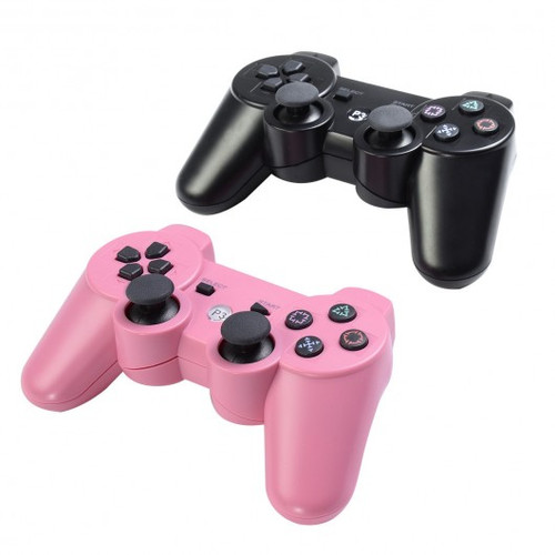 Lot 2 Wireless Controller for Sony PS3 Black Pink Play Station 3