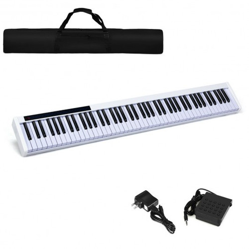 88-Key Portable Electronic Piano with Voice Function-White