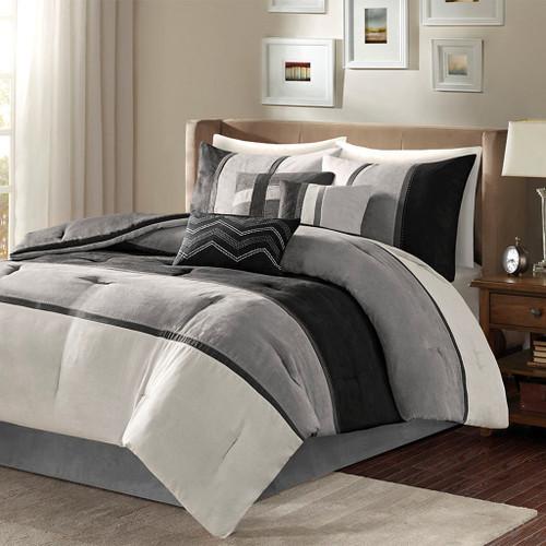 7pc Black & Grey Microsuede Comforter Set AND Decorative Pillows (Palisades-Black)