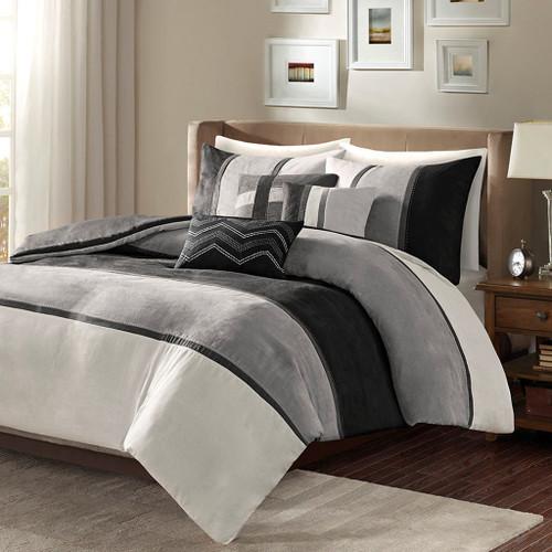 6pc Black & Grey Microsuede Duvet Cover Bedding Set AND Decorative Pillows (Palisades-Black-duv)
