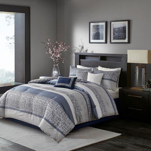 7pc Navy Blue Woven Jacquard Comforter Set AND Decorative Pillows (Rhapsody-Navy)