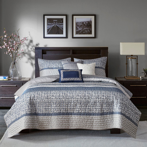 Shades of Blue & Grey Woven Stripes Coverlet Quilt Set AND Decorative Pillows (Rhapsody-Navy-cov)