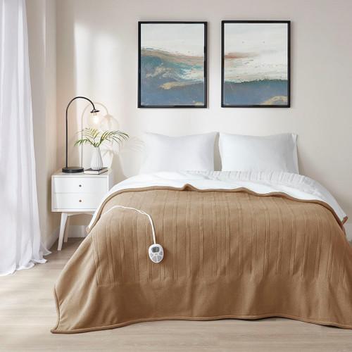 Brown & White Reversible Fleece to Sherpa Heated Year Round Blanket (Fleece to Sherpa-Brown-Heated Blanket)
